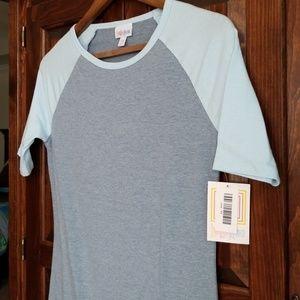 LuLaRoe Julia Blue Gray Ragland Dress Size XS